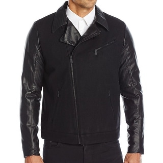 Calvin Klein NEW Black Mens Size Small S Full-Zip Wool Moto Jacket