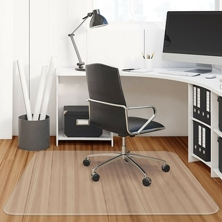 Costway 47'' x 47'' PVC Chair Floor Mat Home Office Protector For Hard Wood Floors - clear