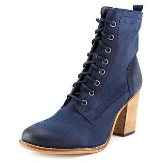 Steve Madden Lauuren Women Round Toe Leather Blue Ankle Boot