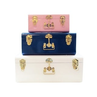 Assorted Colors Trunks Set of 3 Vintage Style Storage w/ Gold Handles & Locks Home Dorm & Office Use