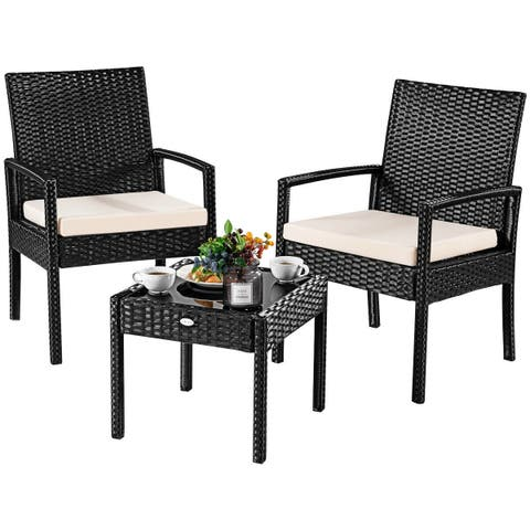 Costway 3 Ps Outdoor Rattan Patio Furniture Set Backyard Garden Seat Cushioned