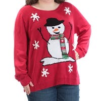 Womens Red Snowman Long Sleeve Boat Neck Holiday Sweater  Size  3X