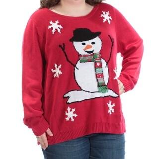 KAREN SCOTT $29 Womens New 1566 Red Snowman Long Sleeve Sweater 3X Plus B+B