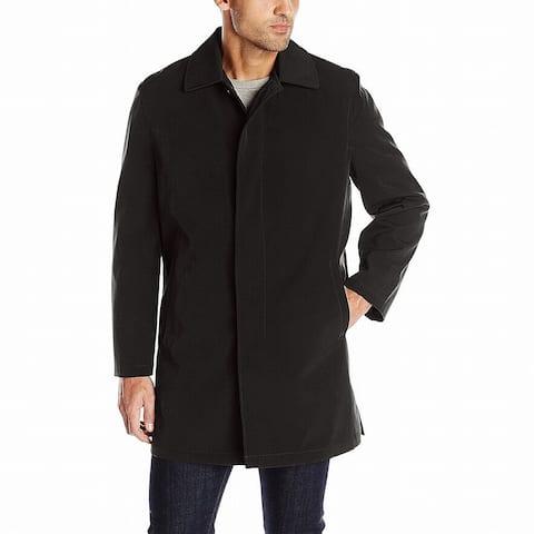 Ike Behar Mens Coat Black Small S Omaha Rain Button Down Classic Fit