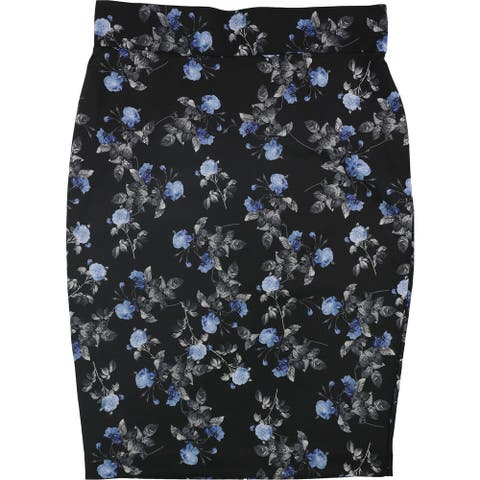 Alfani Womens Floral Midi Skirt, Black, 16W