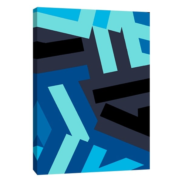"""PTM Images 9-108748 PTM Canvas Collection 10"""" x 8"""" - """"Monochrome Patterns 1 in Blue"""" Giclee Abstract Art Print on Canvas"""