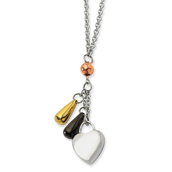 Chisel Stainless Steel Heart with Black, Rose & Gold Plated Accents 22 Inch Necklace (1 mm) - 22 in