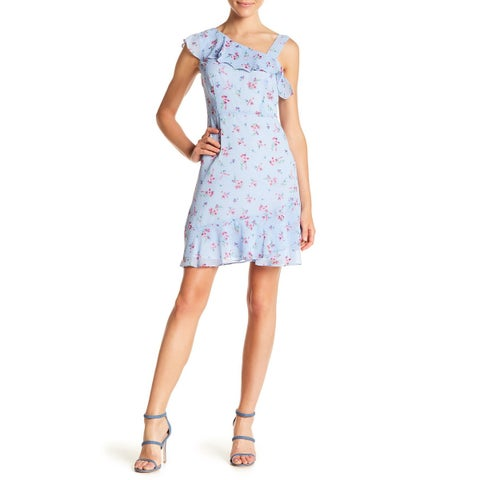 Kensie Blue Womens Size 8 One-Shoulder Floral Ruffle Sheath Dress