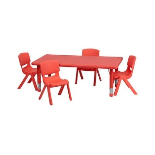 Offex 24''W x 48''L Adjustable Rectangular Red Plastic Activity Table Set with 4 School Stack Chairs
