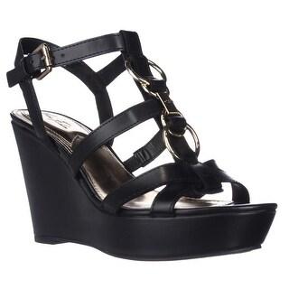 Marc Fisher GENRE Ankle Strap Wedge Platform Sandals - Black Multi