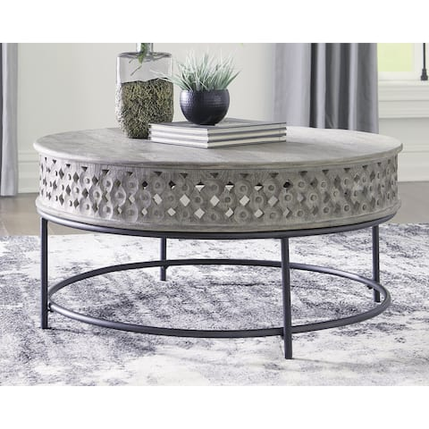 "Rastella Casual Round Cocktail Table, Gray/Black - 38""W x 38""D x 18""H"