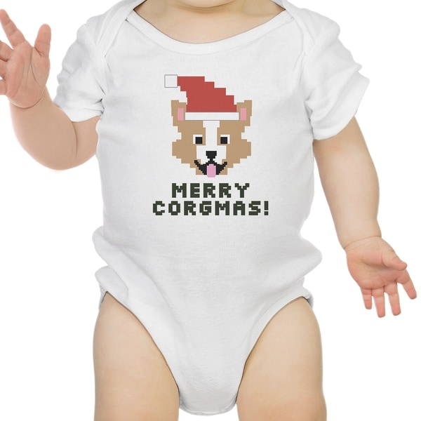 Merry Corgmas Corgi White Baby Bodysuit Cute Christmas Baby Gift Idea