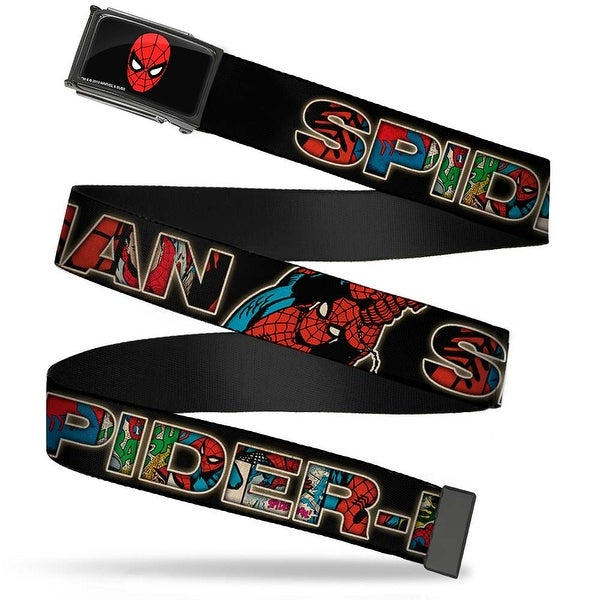 Marvel Comics Spider Man Face Fcg Chrome Spider Man Swinging Pose Web Belt