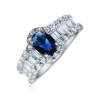 Bling Jewelry .925 Silver Oval Blue Baguette CZ Engagement Ring