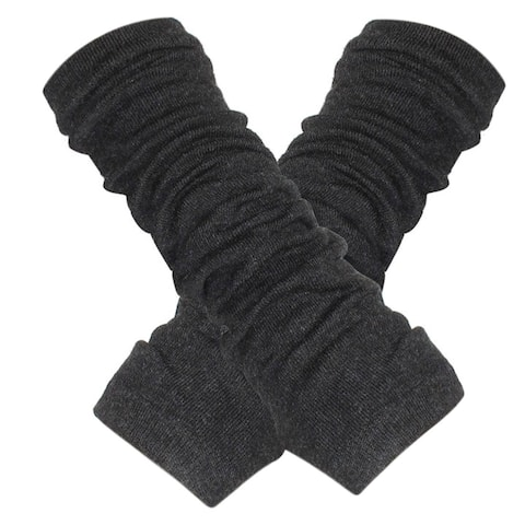 Unique Bargains Ladies Knitted Solid Color Arm Warmers Gloves Dark Gray