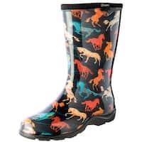 Women's Sloggers Waterproof Tall Rubber Garden Boots - Horse Spirit Print