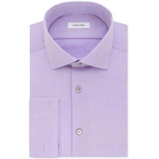 "Calvin Klein Mens Non-Iron Button Up Dress Shirt, purple, 16.5"" Neck 32""-33"" Sleeve"