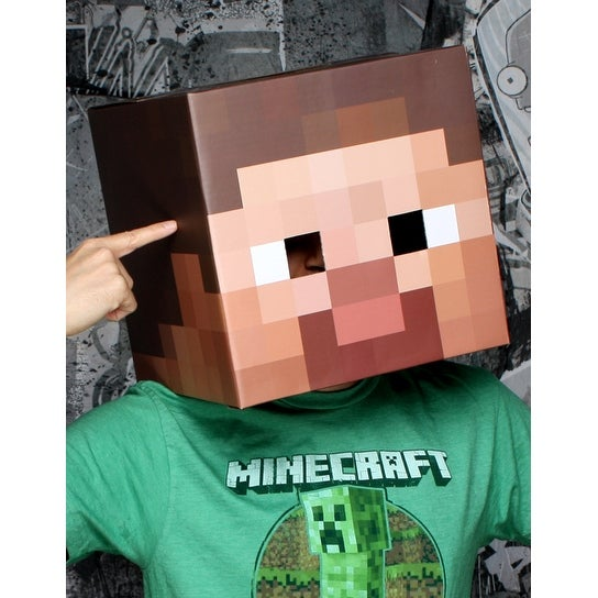 "Minecraft 12"" Steve Head Costume Mask - Brown"