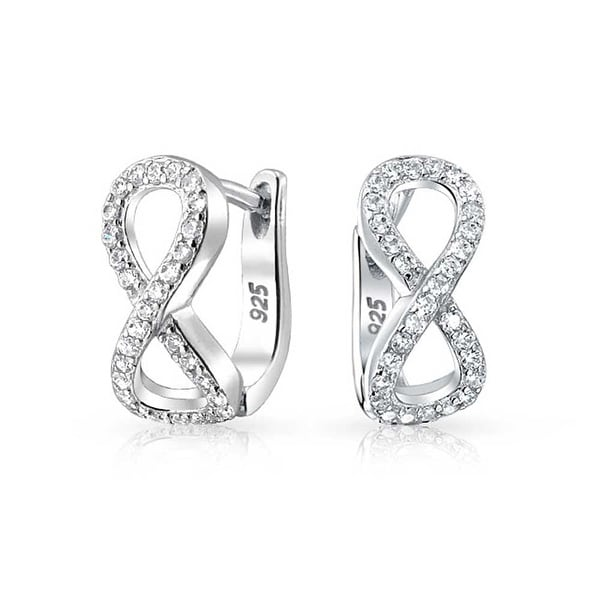 0abeb7910a Shop Cubic Zirconia Pave CZ Eternity Infinity Figure Eight Hoop Huggie  Earrings For Women For Girlfriend 925 Sterling Silver - On Sale - Free  Shipping On ...