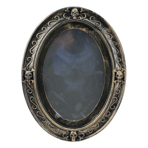 "13"" Black Vintage Style Motion Sensor Haunted Halloween Mirror Decor - N/A"