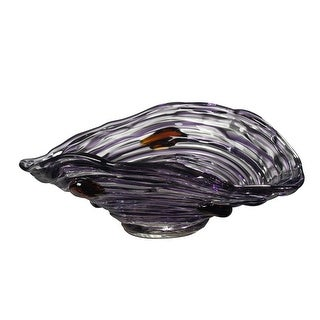 """13.5"""" Purple Amethyst and Golden Amber Decorative Hand Blown Glass Bowl"""