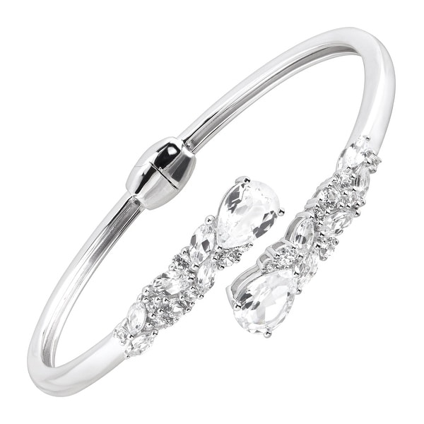 8 1/5 ct Created White Sapphire Bypass Cuff Bracelet in Sterling Silver