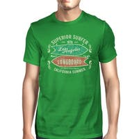 Superior Surfer Los Angeles Longboard Mens Green Vintage Design Tee