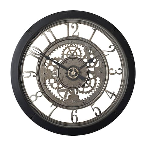 "Offex Home Pinnacle Gear 24"" Wall Clock with Glass Face in Black - 24""W x 24""H x 2.75""D"