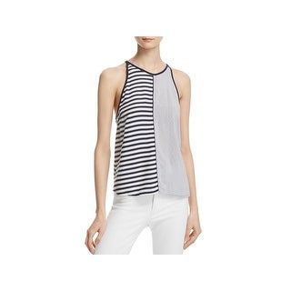 Splendid Womens Tank Top Striped Button Up Back