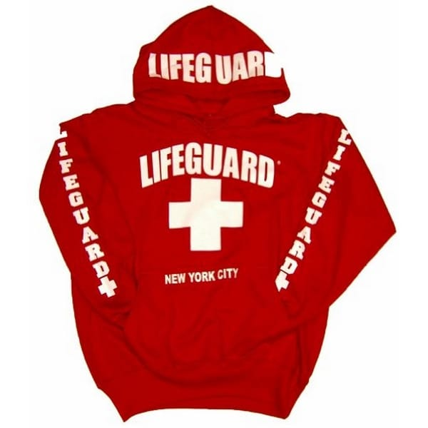 LIFEGUARD New York City Hoodie - Red Sweatshirt Apparel for Women, Men, Teens, Girls - Unisex - Adult Small