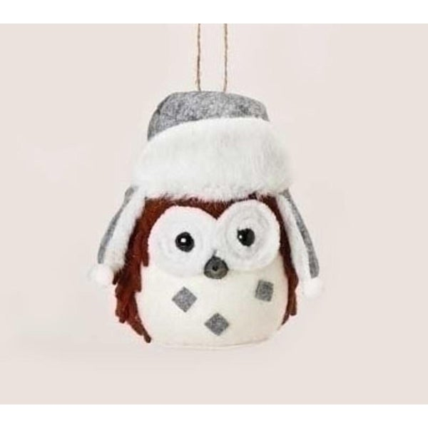 """5.25"""" Alpine Chic Rustic Owl Plush Christmas Ornament with Faux Fur Trimmed Hat - RED"""