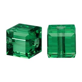 Swarovski Elements Crystal, 5601 Cube Beads 6mm, 4 Pieces, Emerald Green