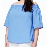 Rachel Roy Women's Plus Off Shoulder Pom Trim Blouse