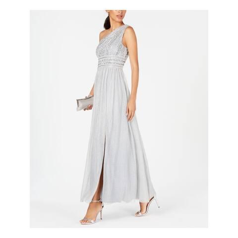 ADRIANNA PAPELL Silver Sleeveless Maxi Dress 18