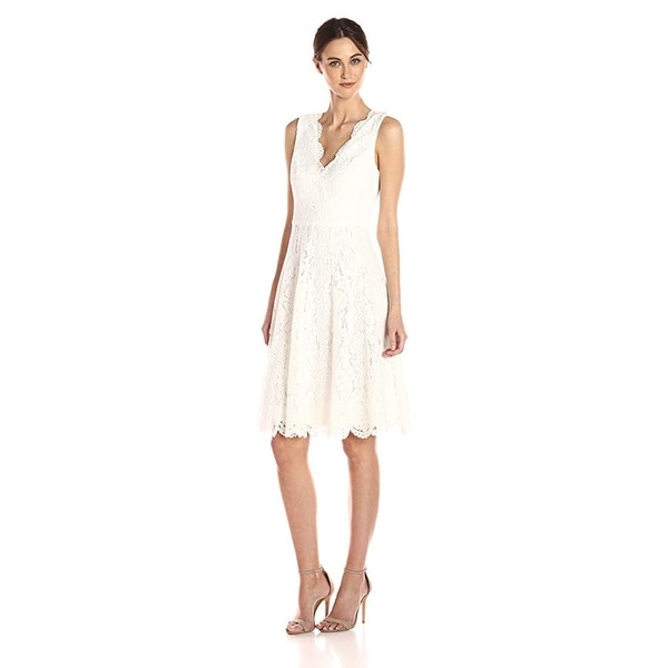 ca0ff18afc Shop Vera Wang Sleeveless Double V-neck Scallop Lace Cocktail Dress ...