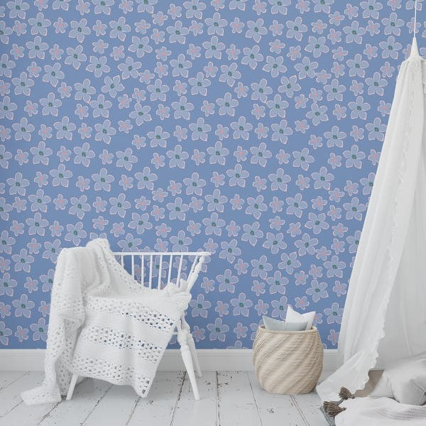 BOHO FLORAL BLUE Peel and Stick Wallpaper By Kavka Designs