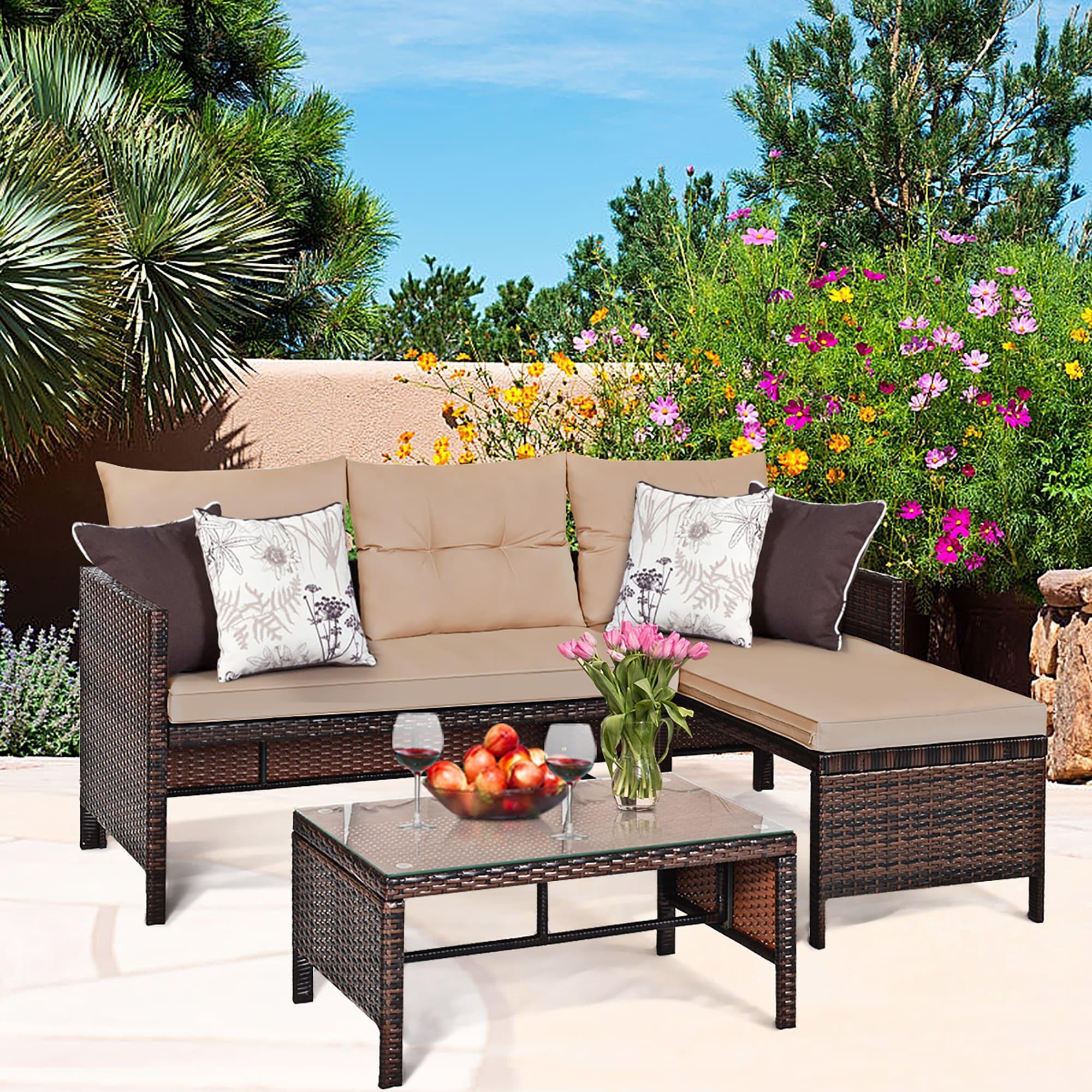Image of: Shop Black Friday Deals On Costway 3pcs Patio Wicker Rattan Sofa Set Outdoor Sectional Overstock 16386651