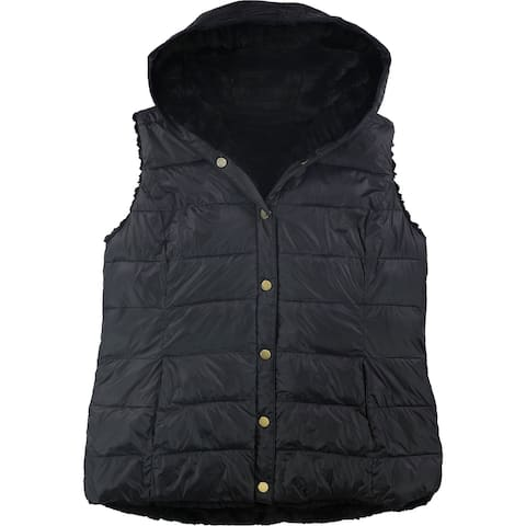 Charter Club Womens Reversible Quilted Vest, Black, Small