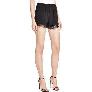 Aqua Womens Casual Shorts Crepe Lace Trim