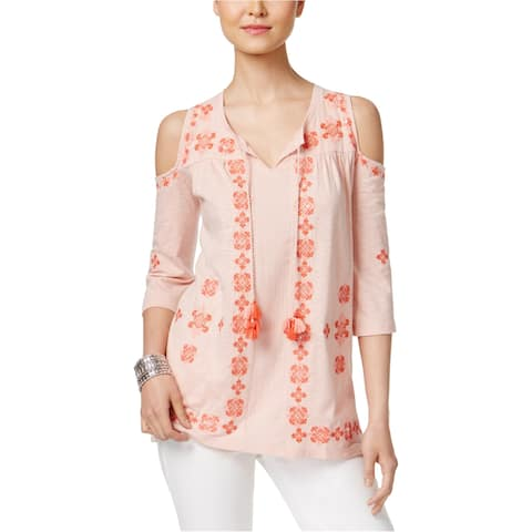 Style&Co. Womens Cold Shoulder Knit Blouse