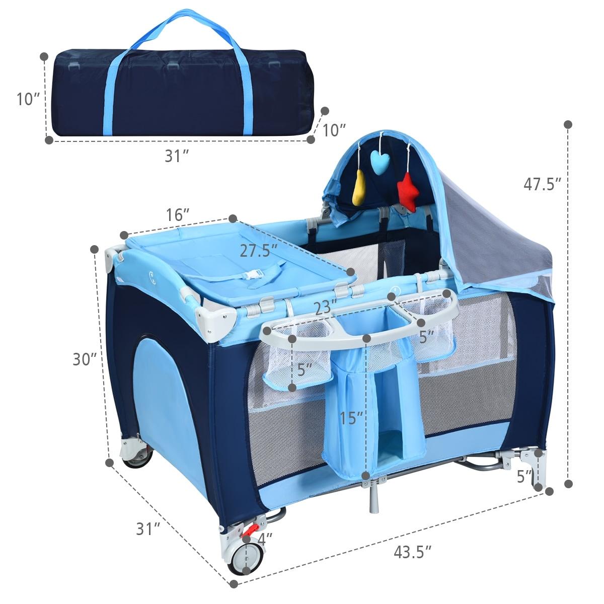 Coffee Baby Infant Crib Playpen Travel Bassinet Bed Folding Portable Wheels Bag