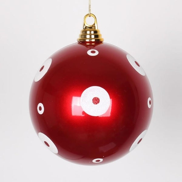 "Candy Apple Red with White Glitter Polka Dots Christmas Ball Ornament 6"" (150mm)"