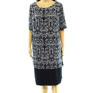 Connected Apparel NEW Black Blue Printed Women's 14W Plus Tunic Dress