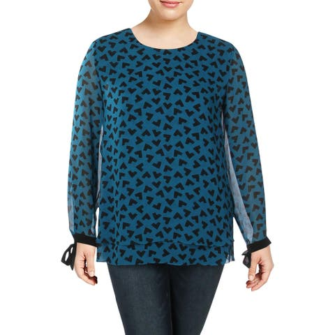 Anne Klein Womens Blouse Printed Long Sleeve