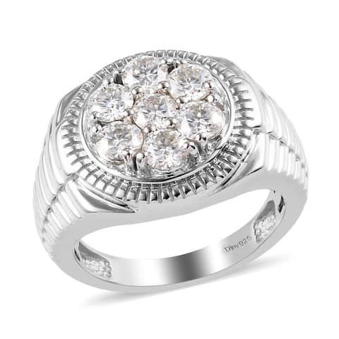 Shop LC Platinum Over 925 Sterling Silver Moissanite Ring Men Ct 1.6