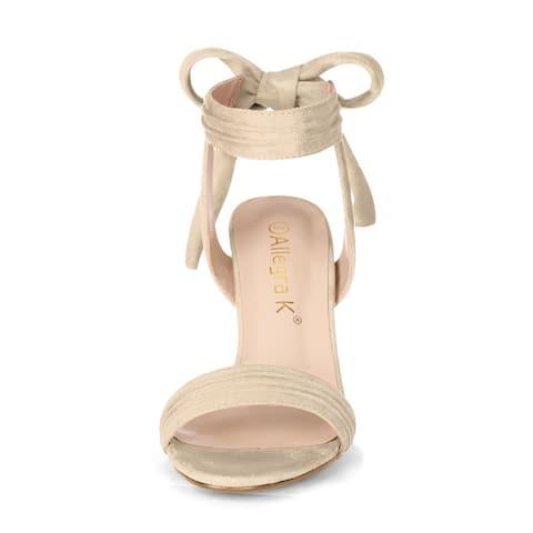 Women Open Toe Ankle Tie Back Chunky Heel Sandals