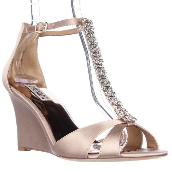 Badgley Mischka Romance Wedge Jeweled T-Strap Dress Sandals, Latte