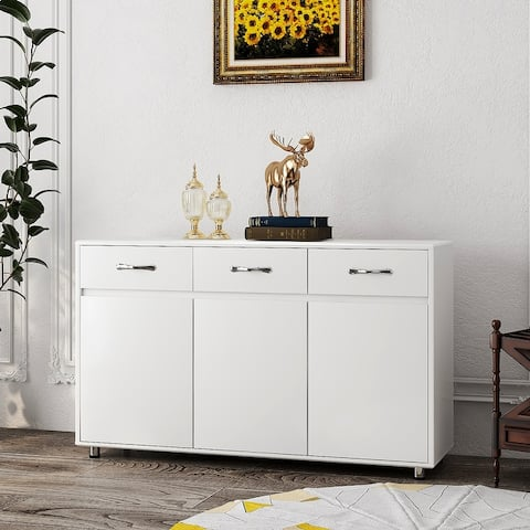 Moda Three Doors Side Table White