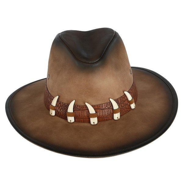 d427c759a9e Kenny K Men  x27 s Distressed Faux Leather Western Hat with Faux Animal  Teeth