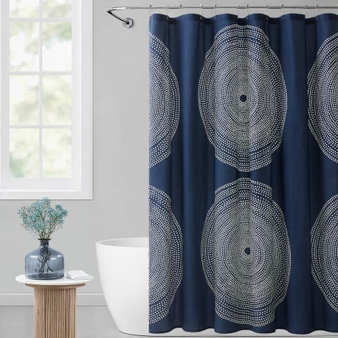 Marimekko Fokus Cotton Navy Shower Curtain